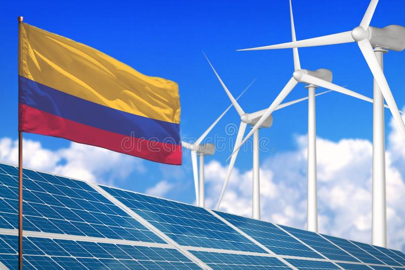 Colombia solar and wind energy, renewable energy concept with solar panels - renewable energy against global warming - industrial royalty free illustration