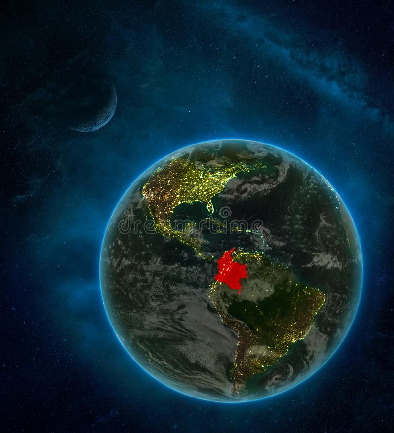 Colombia from space on Earth at night surrounded by space with Moon and Milky Way. Detailed planet with city lights and clouds. 3D. Illustration. Elements of royalty free illustration