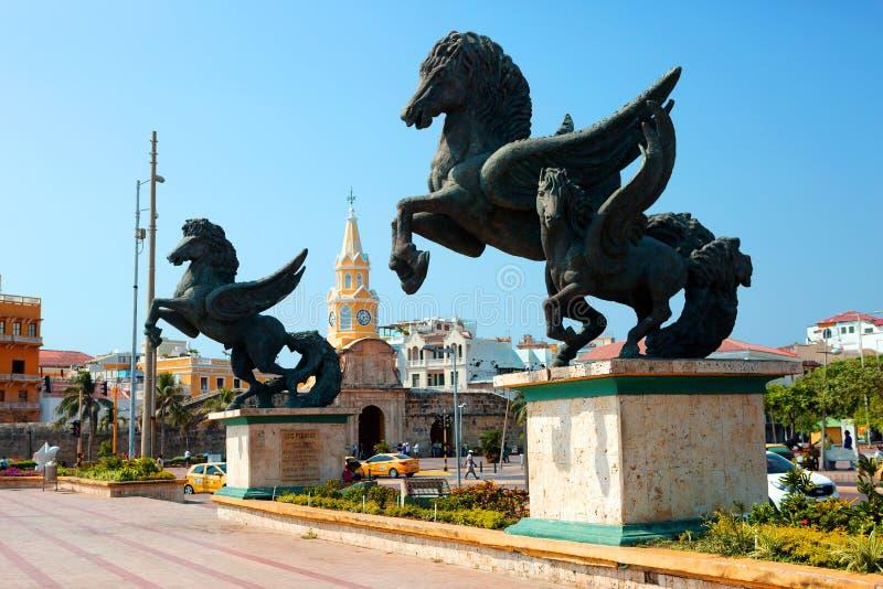 colombia Statua di Pegaso a Cartagine immagini stock libere da diritti