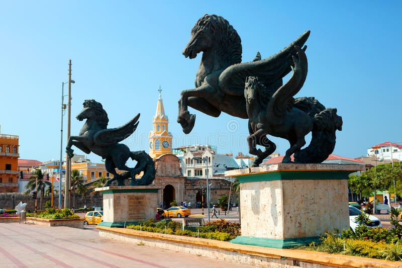 Colombia. Statue of Pegasus in Cartagena royalty free stock images
