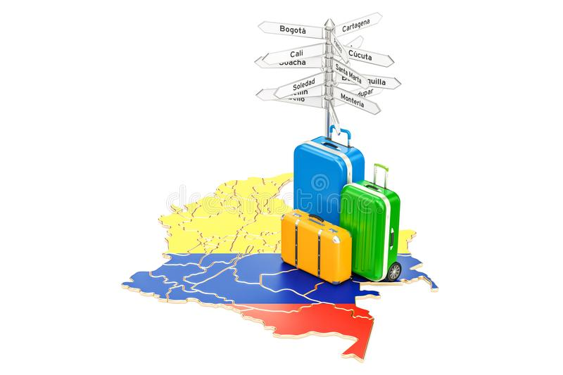 Colombia travel concept. Columbian map with suitcases and signpost, 3D rendering. Colombia travel concept. Columbian map with suitcases and signpost, 3D stock illustration