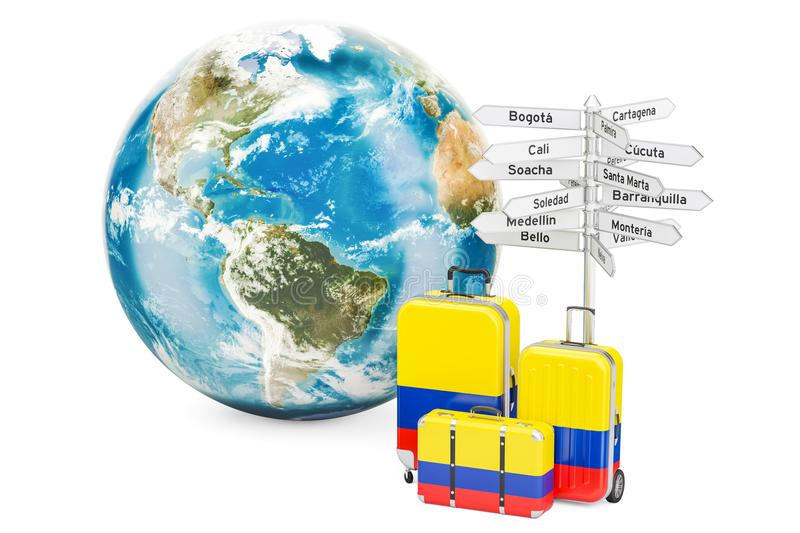 Colombia travel concept. Suitcases with signpost and Earth Globe. 3D vector illustration