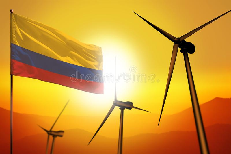 Colombia wind energy, alternative energy environment concept with wind turbines and flag on sunset industrial illustration - vector illustration
