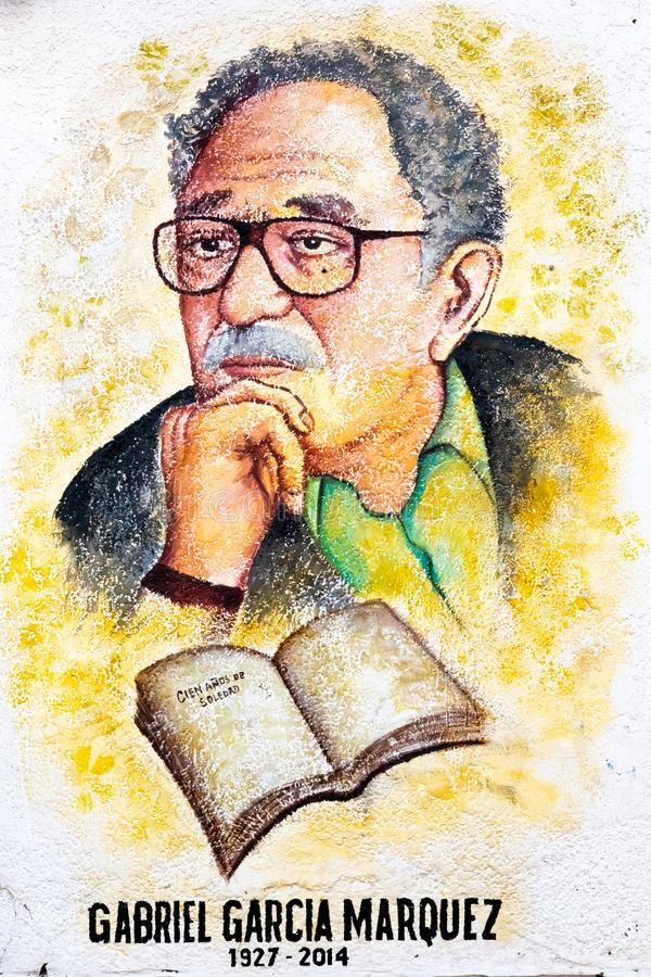 Colombia Zipaquira Gabriel Garcia Marquez murales. Zipaquira, Colombia June 6 This mural representing the colombian journalist Gabriel Garcia Marquez a has been stock photography
