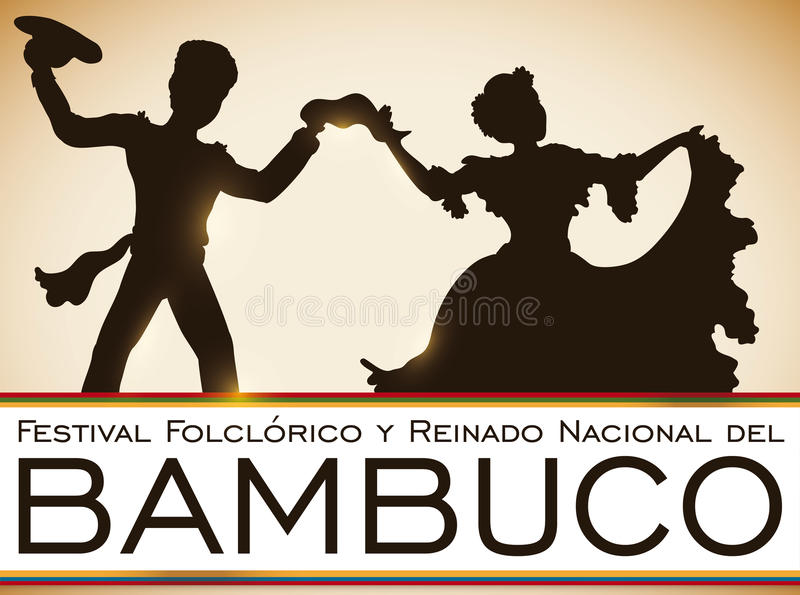 Colombian Couple Dancing Bambuco in Traditional Folkloric Festival, Vector Illustration. Poster with couple dancing at the sunset in traditional colombian royalty free illustration