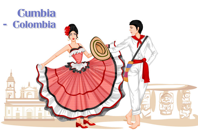 Colombian Couple performing Cumbia dance of Colombia. Vector design of Colombian Couple performing Cumbia dance of Colombia royalty free illustration