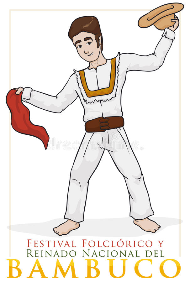 Colombian Dancer Performing Bambuco Dance with Hat and Kerchief, Vector Illustration. Poster with traditional Colombian dancer performing bambuco dance in royalty free illustration