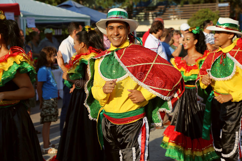 Colombian dancer in traditional costume stock photo