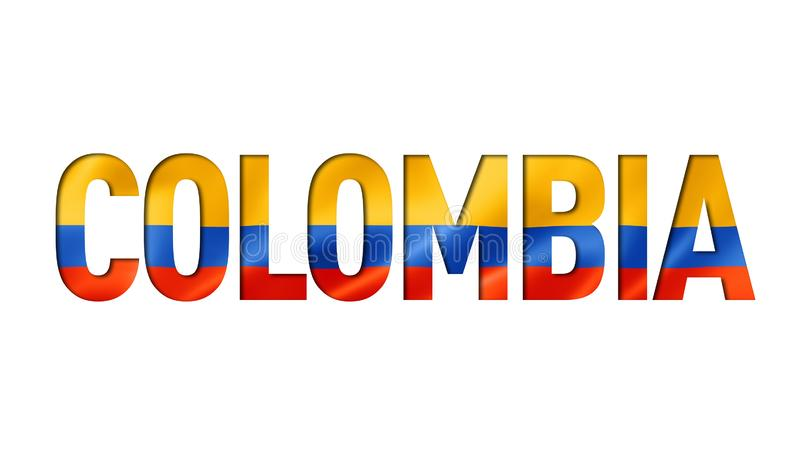 Colombian flag text font vector illustration