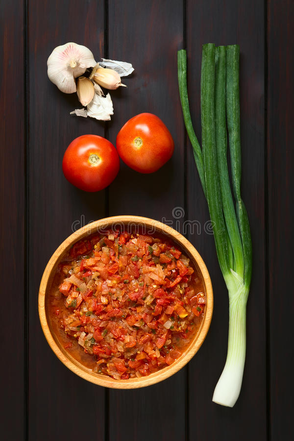 Colombian Hogao Sauce. Colombian hogao or criollo sauce (salsa criolla) made of cooked onion and tomato, served as accompaniment to traditional dishes stock photography