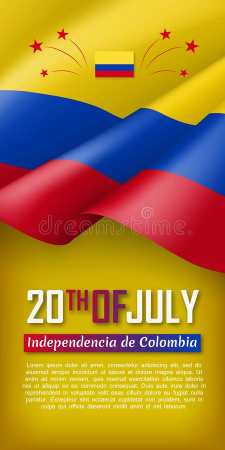 Colombian Independence day vertical flyer vector illustration