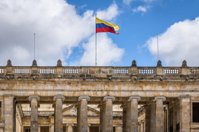 Colombian National Capitol and Congress situated at Bolivar Square - Bogota, Colombia royalty free stock photo