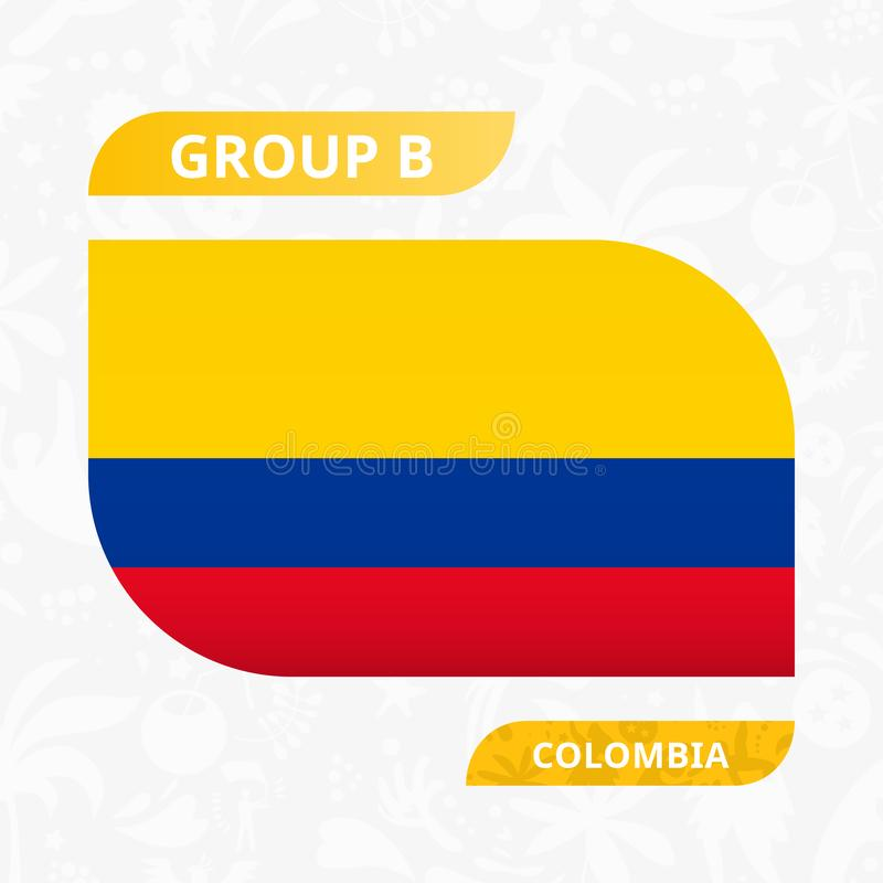 Colombian team flag, made in football competition style stock illustration