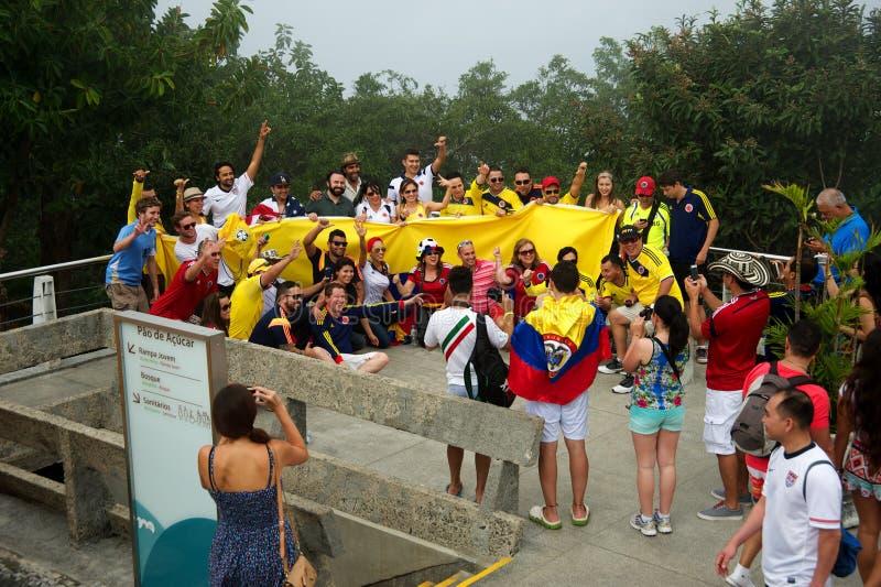 Colombiansfußballfans an der Fußball-Weltmeisterschaft lizenzfreie stockfotografie