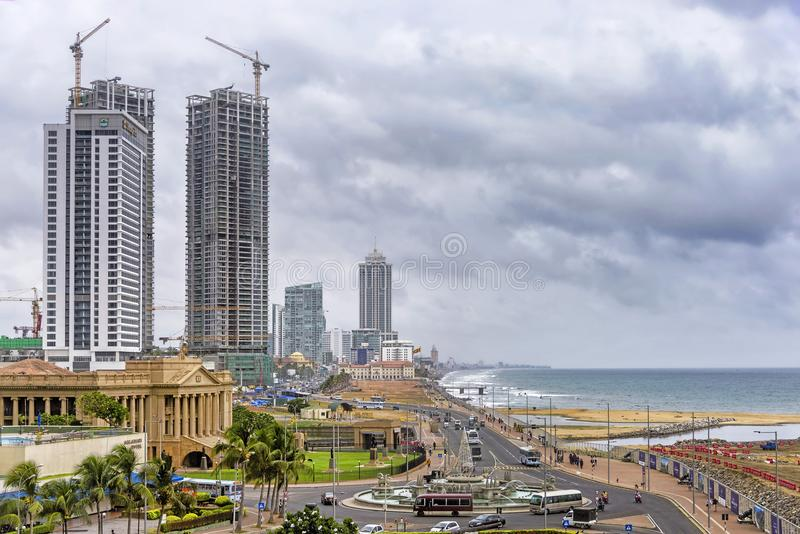 Colombo Fort skyline under stormy sky, Sri Lanka stock photography