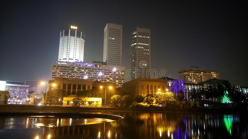Colombo na noite imagens de stock