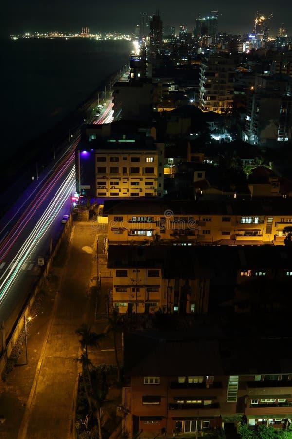 Colombo Night Skyline fotografía de archivo libre de regalías