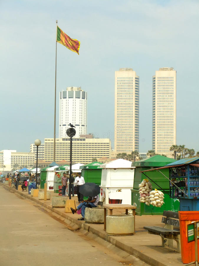 Colombo skyline and Galle Face beach, Sri Lanka royalty free stock photography