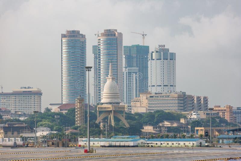 Colombo skyline with the Sambodhi Chaitya temple stock photo