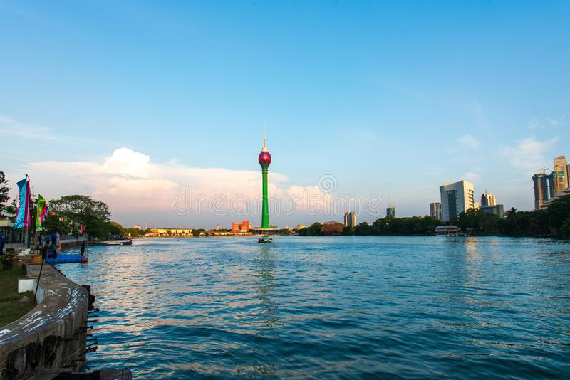 Colombo, Sri Lanka - April 5, 2019: Colombo skyline over Beira lake with modern business and residential buildings in the capital royalty free stock image