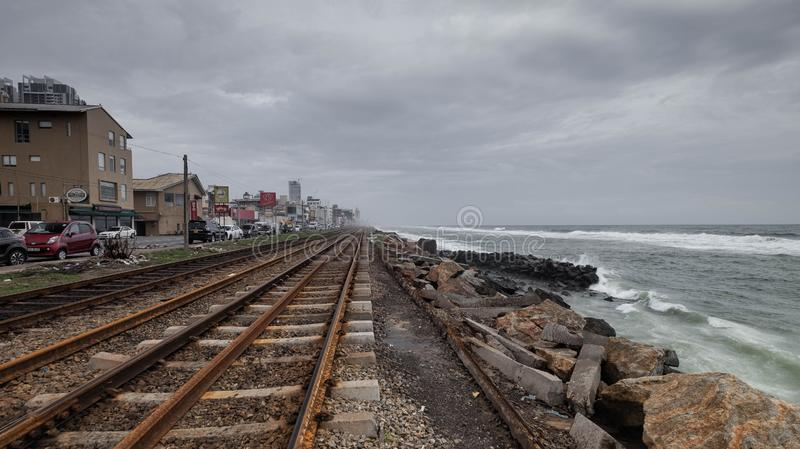 The picture of Scenic Train Ride Along the Coast to Colombo in Sri Lanka royalty free stock photo