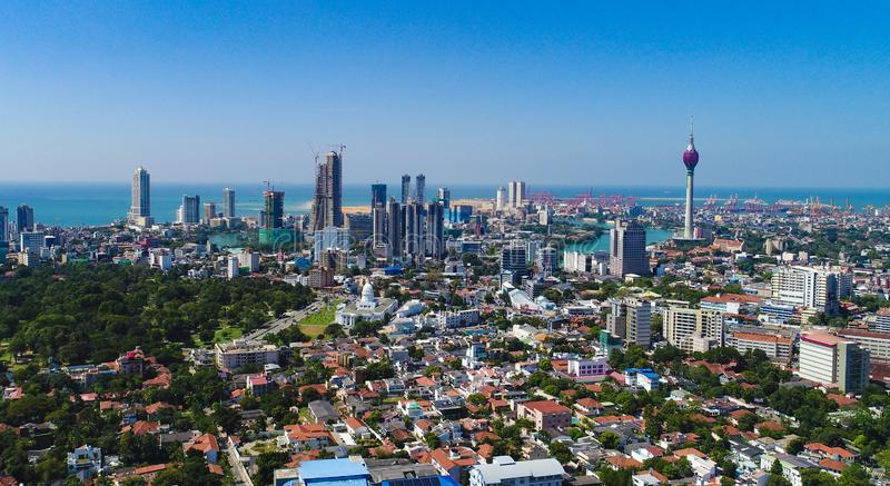 Colombo , Sri Lanka City skyline with lotus tower and beira lake stock photo