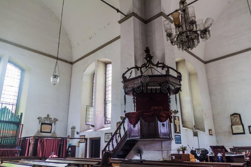 COLOMBO, SRI LANKA - 26 LUGLIO 2016: Interno della chiesa di Wolvendaal a Colombo, lan di Sri fotografia stock