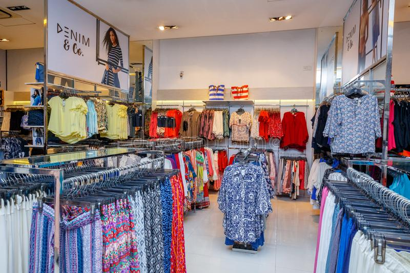COLOMBO, SRI LANKA - SEPTEMBER 05, 2016: Wide View of Ladies wear Clothes, Dresses, Skirts, Frocks, Trousers, Jackets, with royalty free stock images