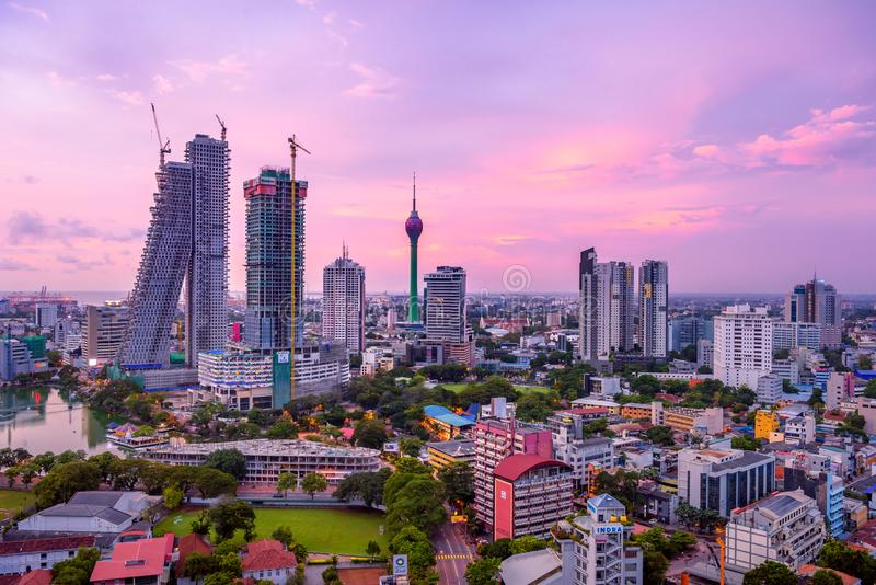 Colombo Sri Lanka skyline cityscape. Photo. Sunset in Colombo with views over the biggest city in Sri Lanka island. Urban views of buildings and the Laccadive stock photography