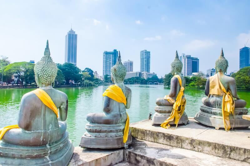 Colombo/Srilanka December 2019: Back of Buddha statues in Gangaramaya lake temple in Colombo Srilanka royalty free stock photo