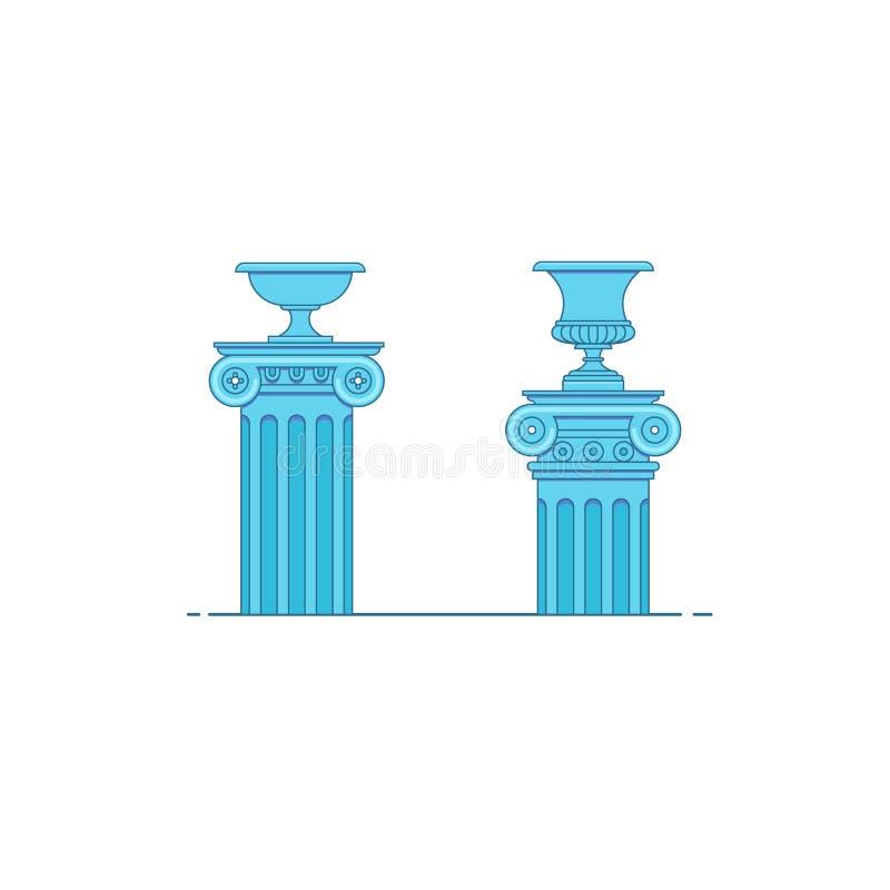 Colomns de la obra clásica de la arquitectura griega y romana stock de ilustración