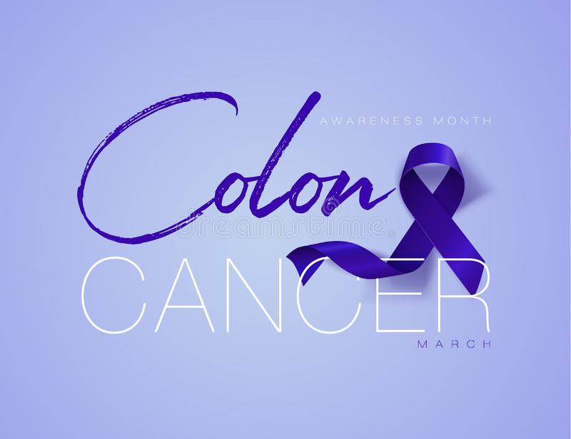 Colon Cancer Awareness Calligraphy Poster Design. Realistic Dark Blue Ribbon. March is Cancer Awareness Month. Vector. Colon Cancer Awareness Calligraphy Poster stock illustration