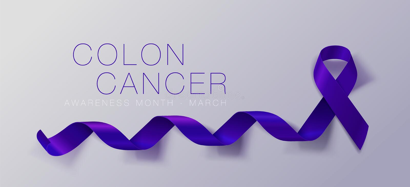 Colon Cancer Awareness Calligraphy Poster Design. Realistic Dark Blue Ribbon. March is Cancer Awareness Month. Vector. Colon Cancer Awareness Calligraphy Poster vector illustration