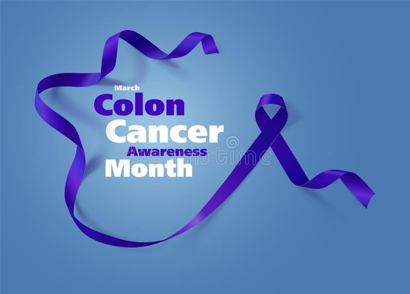 Colon Cancer Awareness Calligraphy Poster Design Realistic Dark Blue Ribbon March Is Cancer Awareness Month Vector Stock Illustration Illustration Of Campaign Elderly 139253074