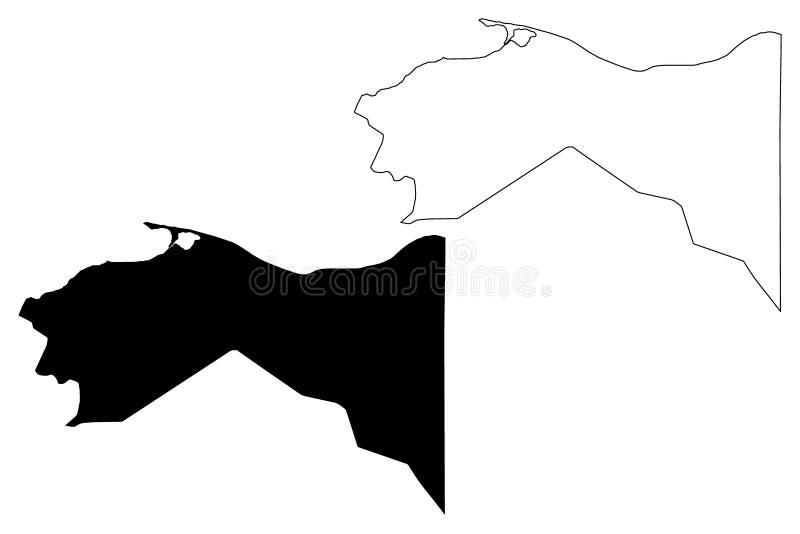 Colon Department Republic of Honduras, Departments of Honduras map vector illustration, scribble sketch Colón map.  royalty free illustration