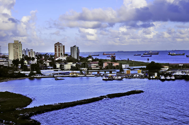 Colon Panama. Harbor at Colon Panama with the city in the background royalty free stock photos