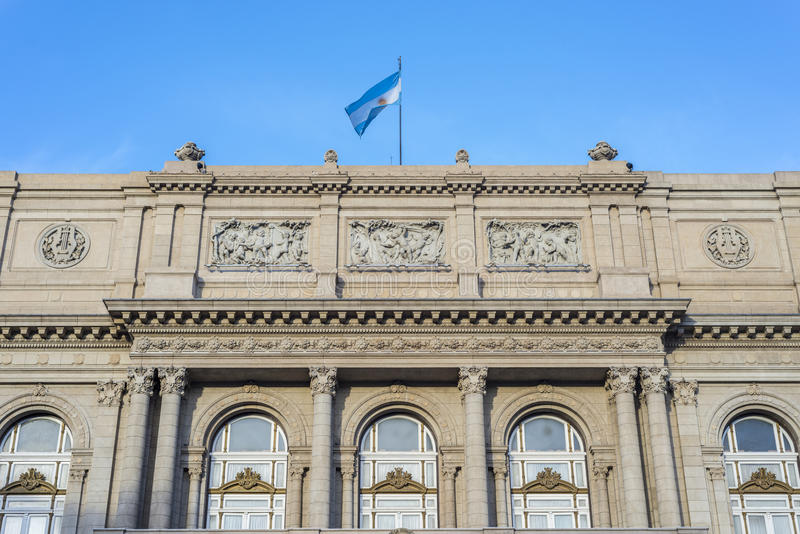 Colon Theatre in Buenos Aires, Argentina. Colon Theatre facade on 9 de julio Avenue in Buenos Aires, Argentina royalty free stock photo