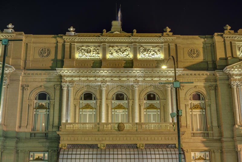 Colon Theatre in Buenos Aires, Argentina. Colon Theatre facade on 9 de julio Avenue in Buenos Aires, Argentina royalty free stock photography