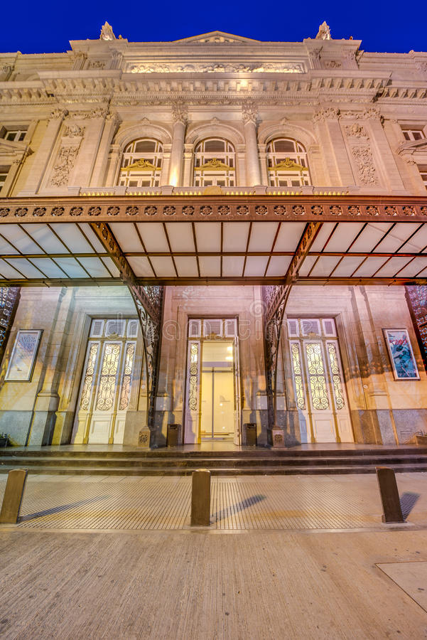 Colon Theatre in Buenos Aires, Argentina. Colon Theatre facade on 9 de julio Avenue in Buenos Aires, Argentina stock photo