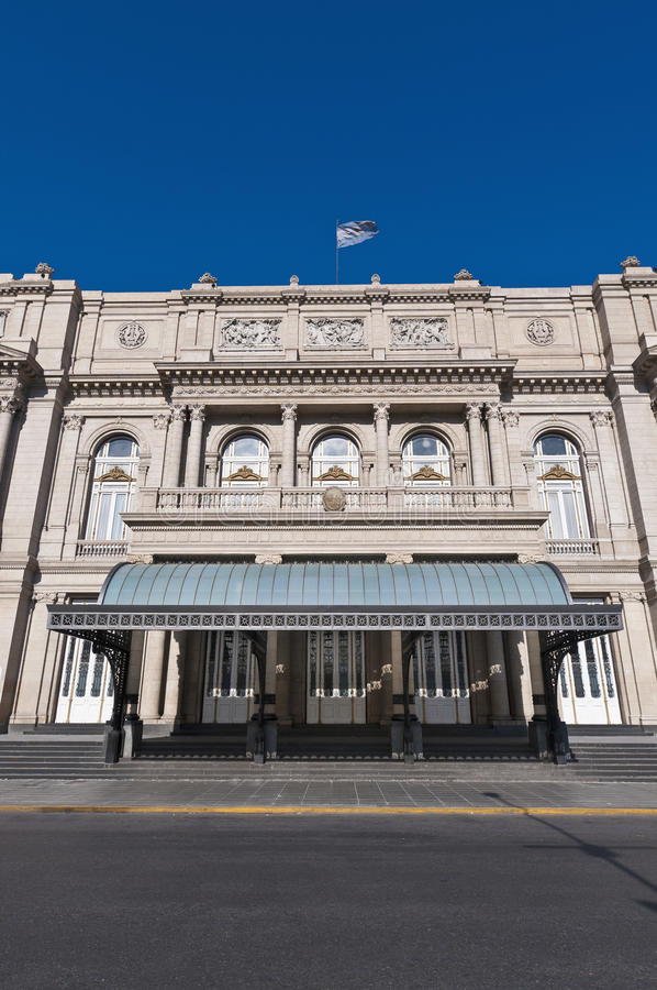 Colon Theatre main entrance at Buenos Aires. Colon Theatre facade on 9 de julio Avenue at Buenos Aires, Argentina stock photo