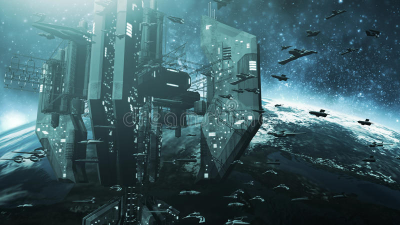 Colone av futuristiska rymdskepp och en mäktig rymdstation royaltyfri illustrationer