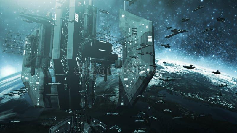 Colone futurystyczni statki kosmiczni i imponująco stacja kosmiczna royalty ilustracja