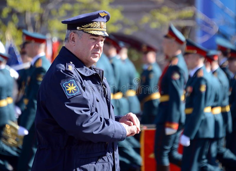 Colonel-General Viktor Bondarev, Commander-in-Chief of the Air and Space Forces of Russia. MOSCOW, RUSSIA - MAY 7, 2017:Colonel-General Viktor Bondarev royalty free stock photo
