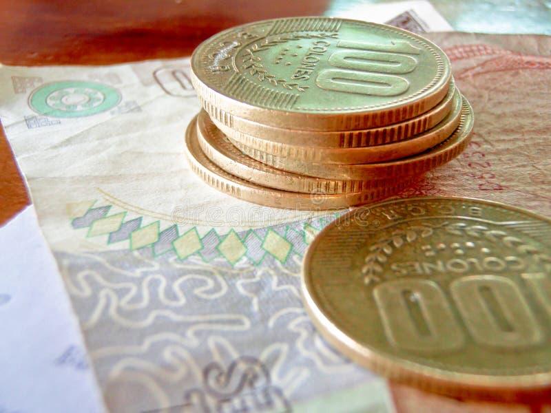 colones肋前缘货币rica 库存照片