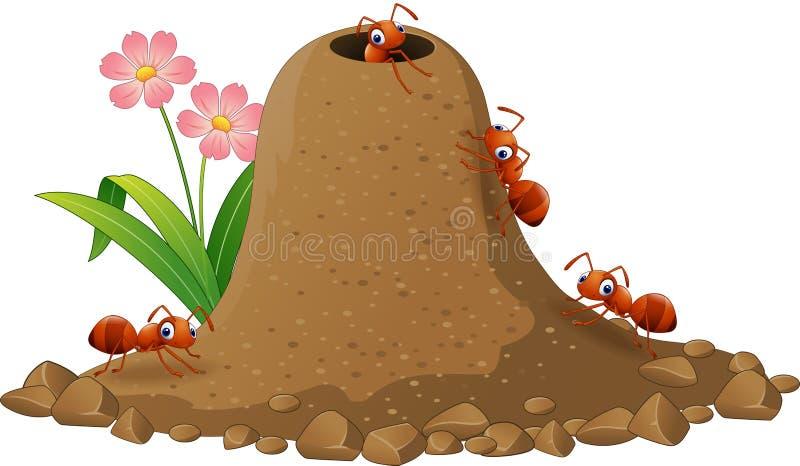 Colonia de las hormigas de la historieta y colina de la hormiga ilustración del vector
