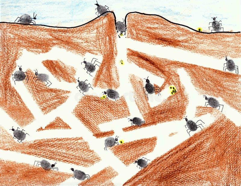 Colonia della formica di Thumbprint illustrazione vettoriale