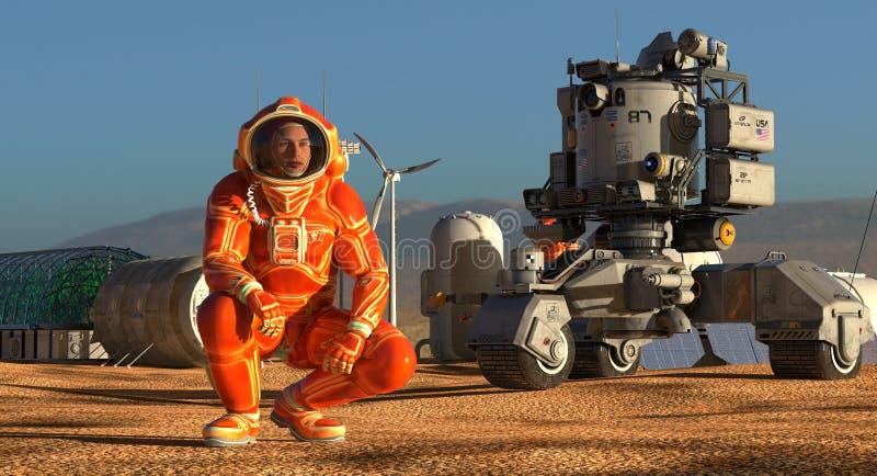 Colonia di Marte Spedizione sul pianeta straniero Vita su Marte illustrazione 3D royalty illustrazione gratis