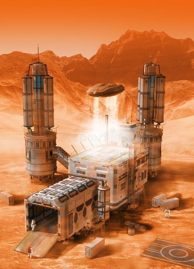 Colonia futurista de la base de Marte ilustración del vector