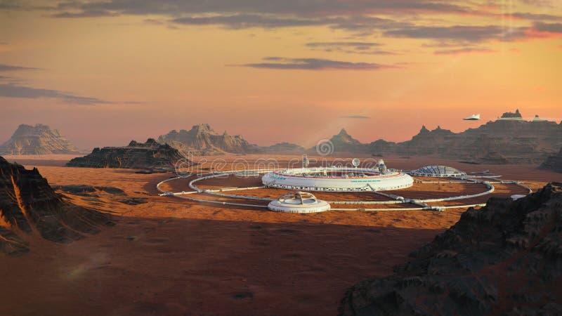Colonia su Marte, prima città marziana nel paesaggio del deserto sull'illustrazione rossa dello spazio del pianeta 3d illustrazione di stock