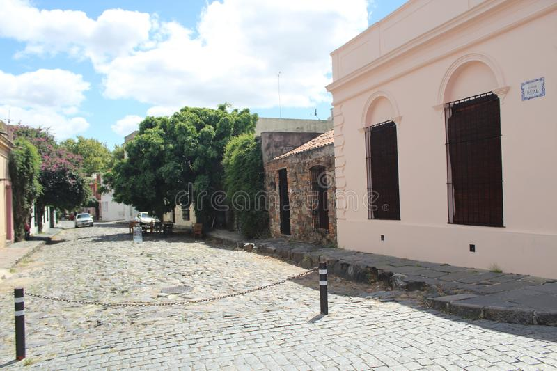 Colonia, uruguay old street stock photography